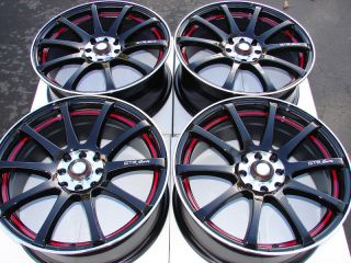 4x114 3 Black Red 4 Lug Wheels Civic Scion XB Lancer Yaris Cooper Rims