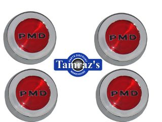70 72 Pontiac Rally 2 Center Caps Set PMD Red Black