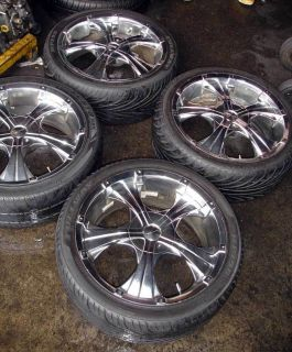 18 Used Chrome Wheels Rims and Tire Pkg SHIP Now
