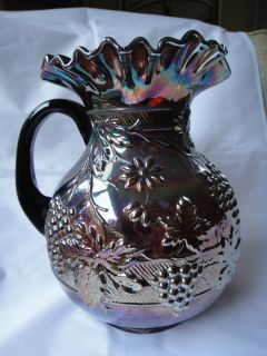 Beautiful Dugan Amethyst Carnival Glass 9 Pitcher with Floral & Grape