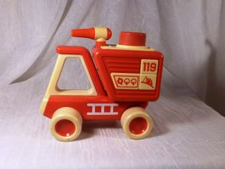 Vintage Tonka 119 Red Fire Truck Toddler Toy with Wheels Red Button