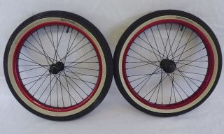New Salt BMX Red Anodized Wheel Set & Tires 9 Tooth Driver Sealed