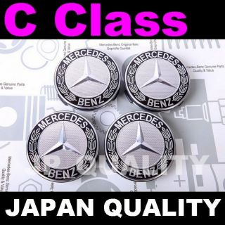 X4 Mercedes Star Black Logo Alloy Wheel Center Caps C Class W201 W202