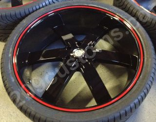 26 U255 Black Red Line Wheels Tires Rims Avalanche Escalade Tahoe