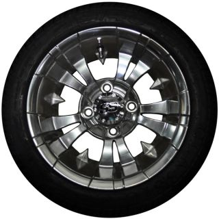 Golf Cart 12 Vampire Polished Wheels and 215x40x12 Tires