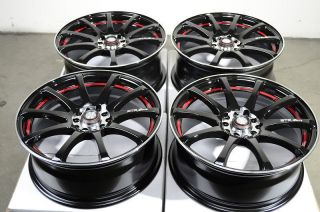 17 5x100 5x114 3 Black Red Rims Lexus Taurus Eclipse Celica ES330