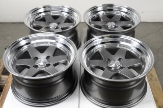 15 4x100 Gun Metal Effect Rims 0 Offset Polished Lip Accent Civic