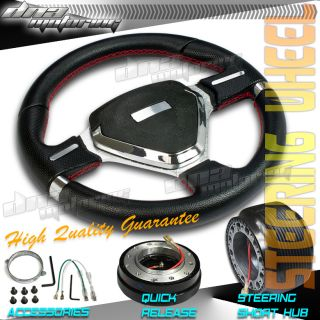 3pc Combo Quick Release Hub 320mm T210 Racing JDM Steering Wheel Civic