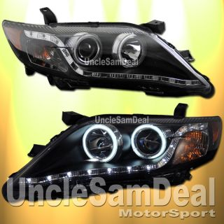 TOYOTA CAMRY CCFL HALO RIMS WHITE LED STRIP PROJECTOR HEADLIGHTS BLACK