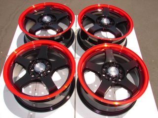 4x114 3 Red Wheels Yaris Mini Cooper Accord Clubman Cobalt Civic Rims