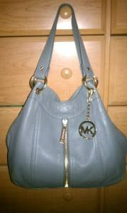 Michael Michael Kors Moxley Leather Large Shoulder Tote Grey MSRP $448