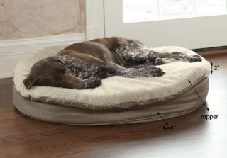 Round Memory Foam Dog Bed Topper Cover / Small Dog Bed Cover, Tan Fleece