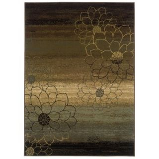 Abstract Floral Area Rug   Brown (310x55)