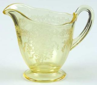 Fostoria June Topaz/Yellow Mini Creamer   Stem #5098, Etch #279, Yellow