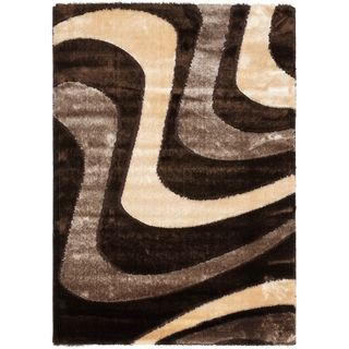 Safavieh Shag Brown/ Beige Rug (6 X 9)