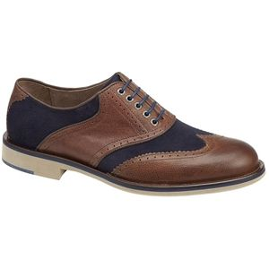 Johnston & Murphy Mens Ellington Wing Tip Tan Dark Navy Shoes   20 4387
