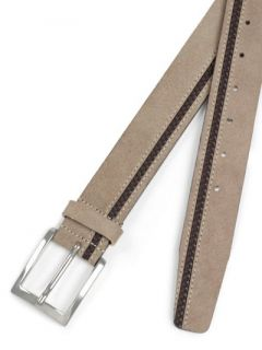Paul Fredrick Mens Italian Suede & Braided Leather Belt