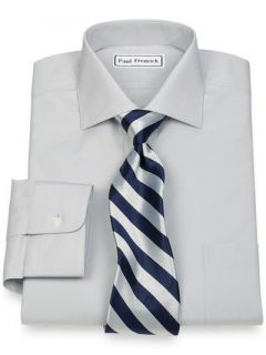 Paul Fredrick Mens 2 Ply Cotton Cutaway Collar Button Cuff Trim Fit Dress Shirt
