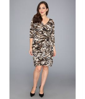 Calvin Klein Plus Size Print Open Drape Matte Jersey Dress Womens Dress (Black)