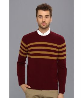 Ben Sherman Two Color Stripe Crew Neck Sweater Mens Sweater (Pink)