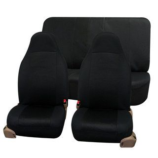 Fh Group Black Full Set Fabric Auto Seat Covers