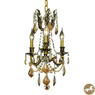 Christopher Knight Home Lugano 3 light Royal Cut Gold Crystal/ Antique Bronze Chandelier (Crystal and aluminumFinish Antique bronzeNumber of lights Three (3)Requires Three (3) 60 watt max bulb (not included)Bulb type E12, 110V 125VFive (5) feet of cha