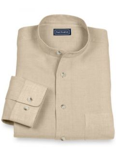 Paul Fredrick Mens 100% Linen Band Collar Sport Shirt