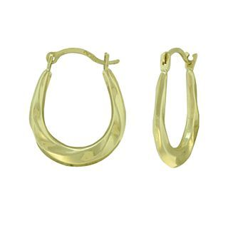 10K Gold Small Oval Twist Hoop Earrings, Womens