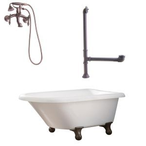 Giagni LB1 ORB Brighton Roll Top Tub with Cannonball Feet, Drain, & Wall Mount F