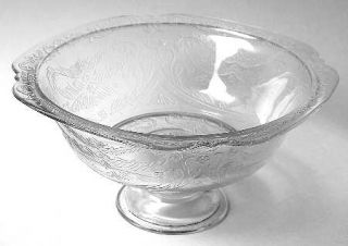 Indiana Glass Recollection Clear Footed Bowl   Clear,Pressed,Scroll Design