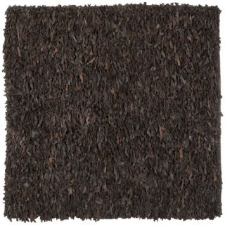 Safavieh Leather Shag Dark Brown Rug LSG421D Rug Size Square 6 x 6