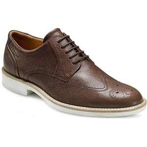 Ecco Mens Biarritz Wing Tip Tie Cocoa Brown Shoes   630034 01482