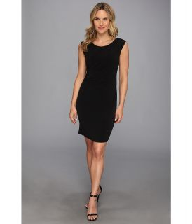 Calvin Klein Sleeveless Double Layer Wrap Dress Womens Dress (Black)