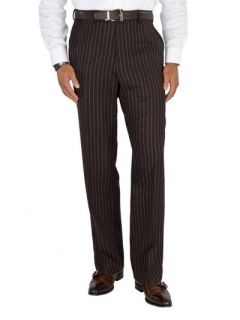 Paul Fredrick Mens 100% Wool Flannel Stripe Flat Front Pants