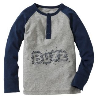 Burts Bees Baby Toddler Boys Buzz Henley Tee   Grey/Navy 3T