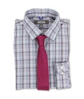 Kenneth Cole New York Slim Fit Plaid Dress Shirt Mens Long Sleeve Button Up (Olive)