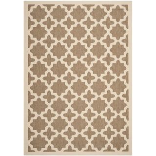 Safavieh Indoor/ Outdoor Courtyard Brown/ Bone Polyproplene Rug (67 X 96)