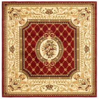 Lyndhurst Collection Traditional Red/ Ivory Rug (6 Square)