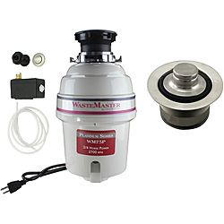 Wastemaster 3/4 hp Quiet Garbage Disposal With Stainless steel Air Switch Kit (Stainless SteelIncludes Air Switch and Disposal FlangeHardware finish SteelModel WM75P_1_20Assembly Required )