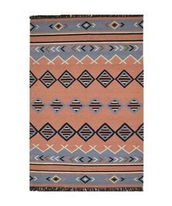 Hand woven Coral Flat Weave Wool Rug (8 X 10 6)