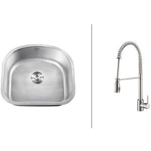 Ruvati RVC2476 Combo Stainless Steel Kitchen Sink and Chrome Faucet Set