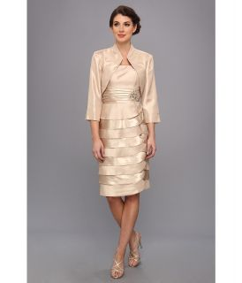Jessica Howard 2 piece Bolero Jacket With Tucked Waist And Laser Cut Dress Womens Dress (Tan)