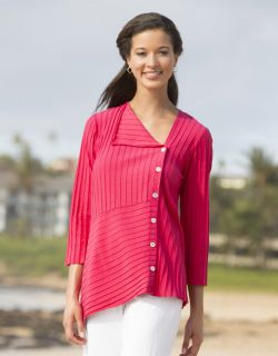Asymmetrical Rib knit Tee, Berry, Small