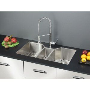 Ruvati RVC1571 Combo Stainless Steel Kitchen Sink and Chrome Faucet Set