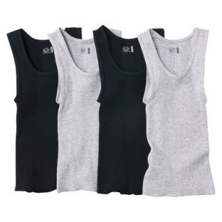 Fruit Of The Loom Boys 4 pack A Shirt Tanks   Black/Gray XL