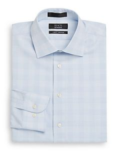 Glen Plaid Non Iron Dress Shirt/Slim Fit   Chambray