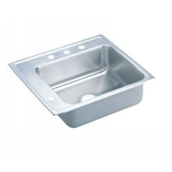 Elkay DRKAD2220L 65 Lustertone ADA Compliant Rear and Side Ledge Single Bowl Cla