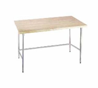Advance Tabco 72 Work Table   1.75 Wood Top, Galvanized Open Base, 30 W