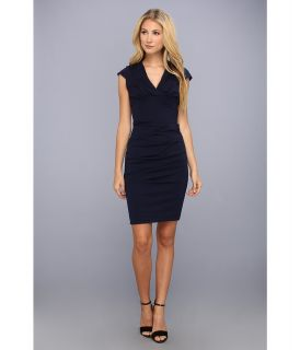 Nicole Miller Hadley Ponte Cap Sleeve V Neck Dress Womens Dress (Navy)