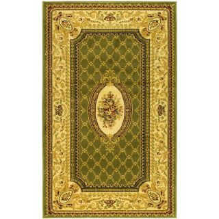 Lyndhurst Collection Traditional Sage/ Ivory Rug (53 X 76)